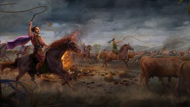 Satan verleidt Job voor de eerste keer (Zijn vee is gestolen en rampspoed overvalt zijn kinderen)